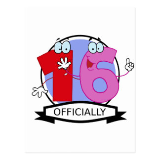 Officially 16 Birthday Banner Postcard