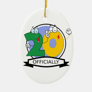Officially 20 Birthday Banner Christmas Ornament