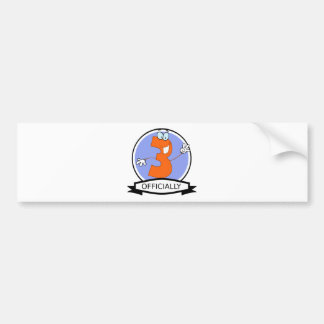 Officially 3 Birthday Banner Bumper Sticker