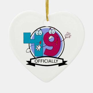 Officially 49 Birthday Banner Ceramic Heart Decoration