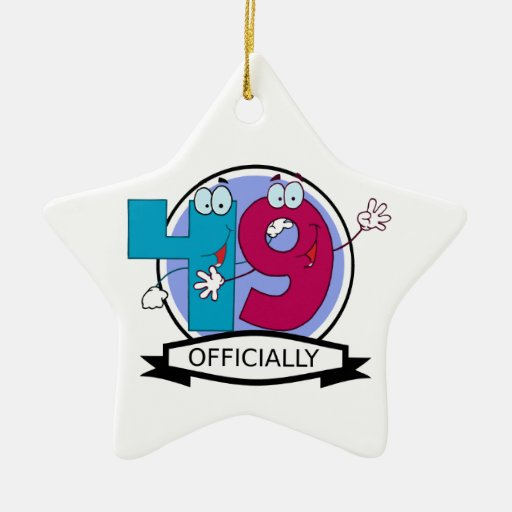 Officially 49 Birthday Banner Christmas Ornaments