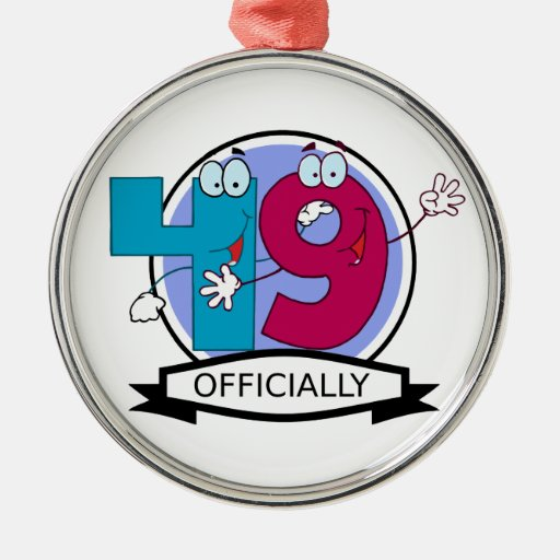 Officially 49 Birthday Banner Christmas Tree Ornaments