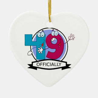 Officially 49 Birthday Banner Double-Sided Heart Ceramic Christmas Ornament