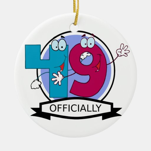 Officially 49 Birthday Banner Christmas Ornament