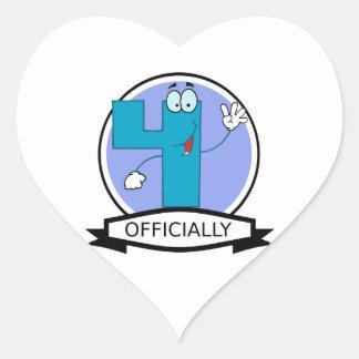 Officially 4 Birthday Banner Heart Sticker