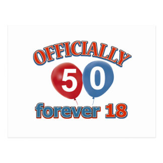 Officially 50 forever 18 postcard