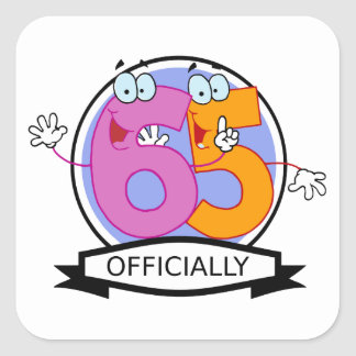 Officially 65 Birthday Banner Square Sticker