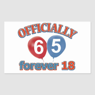 Officially 65 forever 18 rectangle stickers