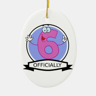 Officially 6 Birthday Banner Christmas Ornament