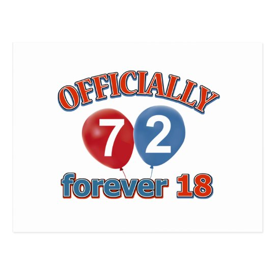 Officially 72 forever 18 postcard