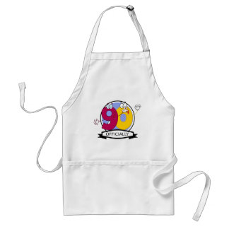 Officially 90 Birthday Banner Aprons