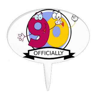 Officially 90 Birthday Banner Cake Toppers