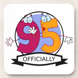 Officially 95 Birthday Banner Drink Coasters