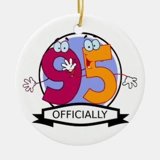 Officially 95 Birthday Banner Round Ceramic Decoration