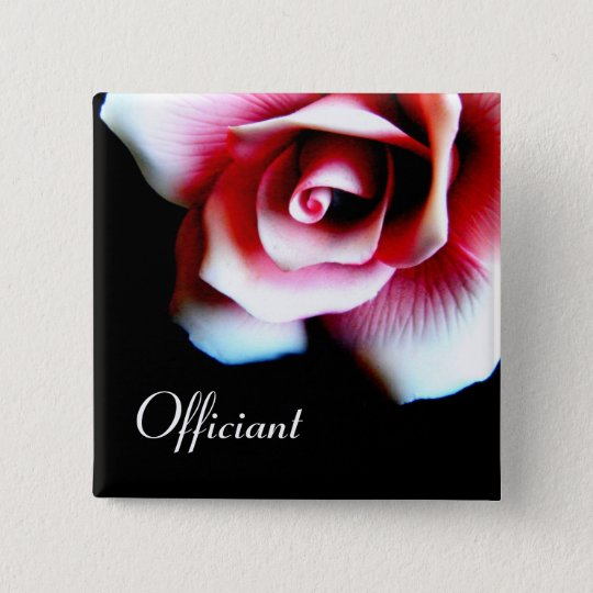 Officiant Pink Rose I.D. Button