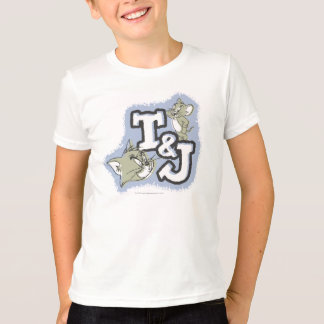 Offset Fill Tom And Jerry Initials Logo T-Shirt