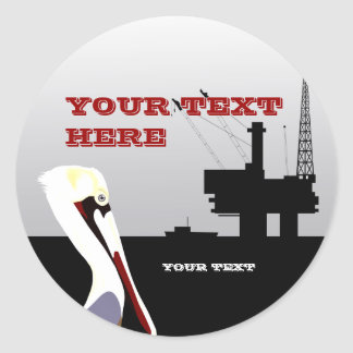 Offshore Oil and Pelican Sticker Template