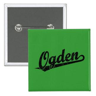 Ogden script logo in black distressed 15 cm square badge