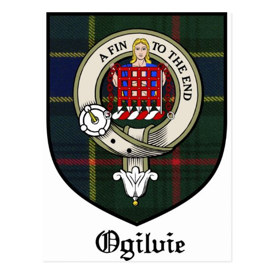 Ogilvie Clan Crest Badge Tartan Postcard