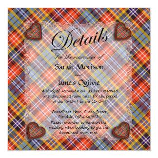 Ogilvie Scottish clan tartan - Plaid 5.25x5.25 Square Paper Invitation Card