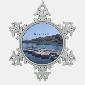 Ogunquit, Maine Snowflake Pewter Christmas Ornament