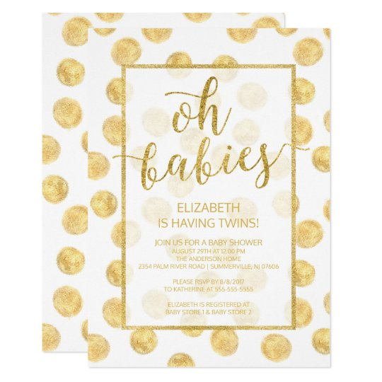 Oh Babies! Gold Dots Twins Baby Shower Invitation