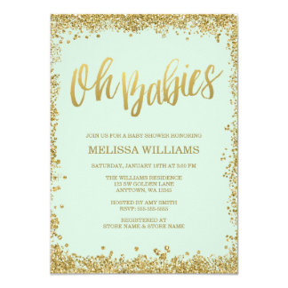 Oh Babies Mint Gold Glitter Baby Shower Card