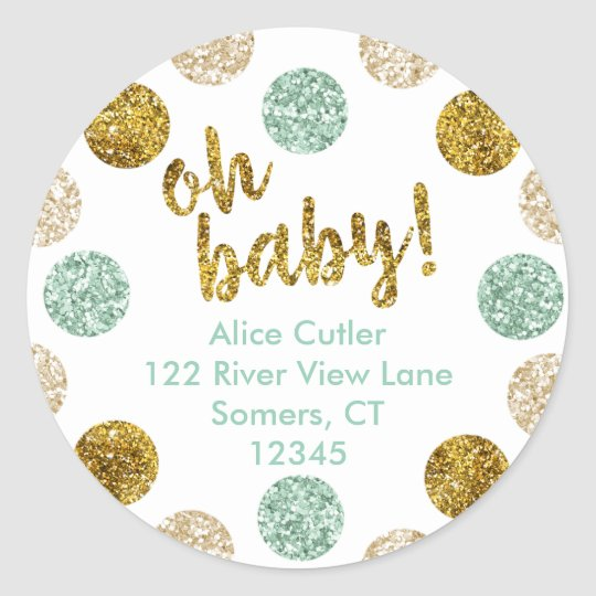 Oh Baby Address Label, Mint and Gold Glitter