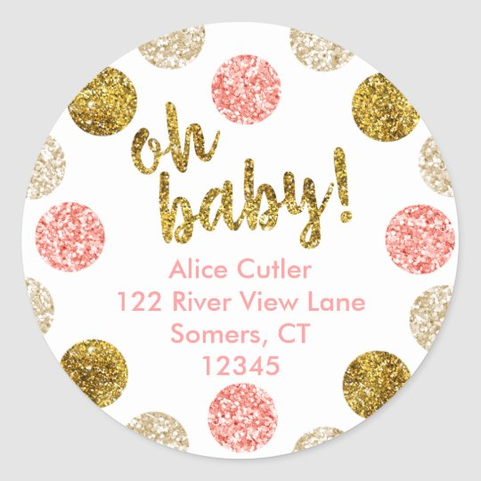 Oh Baby Address Label, Pink and Gold Glitter