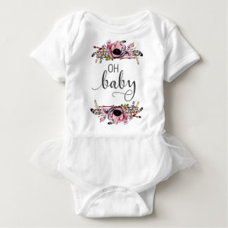 Oh Baby   Baby Girl Boho Floral Feather Frame Tutu Baby Bodysuit
