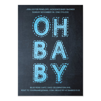 Oh Baby | Baby Shower Invitations | Blue Chalk