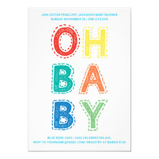 Oh Baby | Baby Shower Invitations | Color 1 White