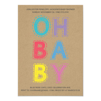 Oh Baby | Baby Shower Invitations | Kraft Paper 1