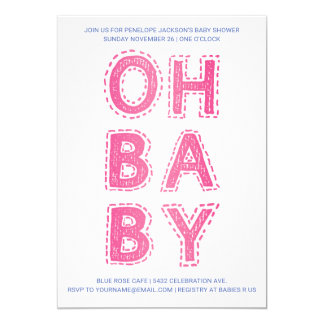 Oh Baby | Baby Shower Invitations | Pink on White