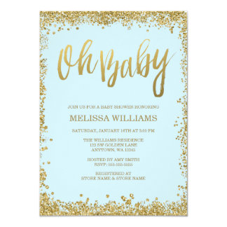 Oh Baby Blue Gold Glitter Baby Shower 11 Cm X 16 Cm Invitation Card