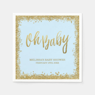 Oh Baby Blue Gold Glitter Baby Shower Paper Serviettes