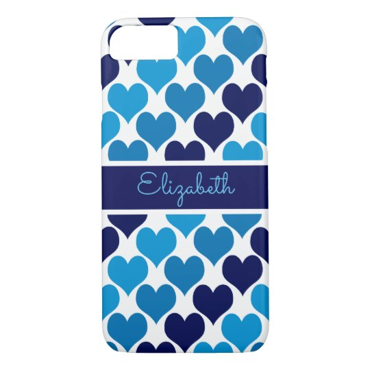 Oh Baby Blue Hearts Monogram iPhone 8/7 Case