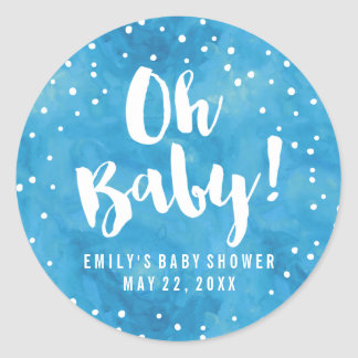 Oh Baby Blue Watercolor Baby Shower Classic Round Sticker