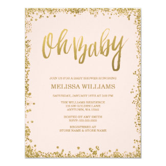 Oh Baby Blush Pink Gold Glitter Baby Shower 11 Cm X 14 Cm Invitation Card