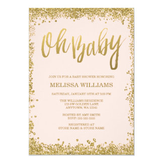 Oh Baby Blush Pink Gold Glitter Baby Shower Card