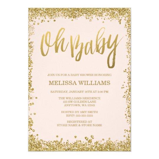 oh baby blush pink gold glitter baby shower invitation zazzle co uk