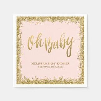 Oh Baby Blush Pink Gold Glitter Baby Shower Napkin