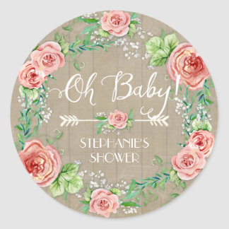 Oh Baby BOHO Bohemian Floral Babys Breath Rustic Classic Round Sticker