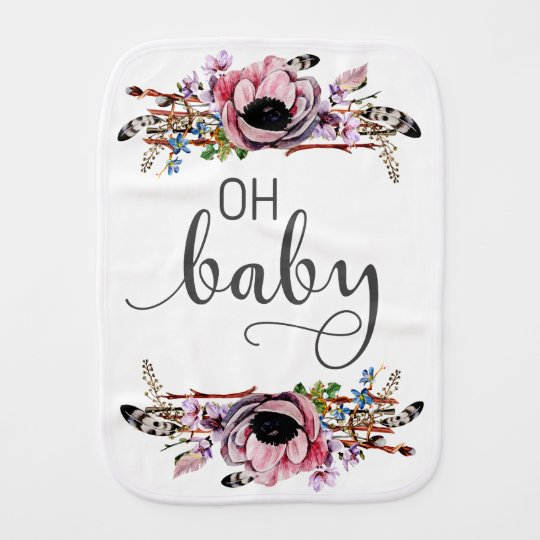 Oh Baby | Boho Chic Floral Feathers Baby