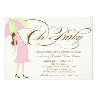 Oh Baby | Brown Script 13 Cm X 18 Cm Invitation Card