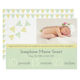 Oh Baby Bunting Birth Announcement- gender neutral Card