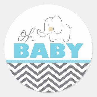 Oh Baby Elephant - Blue Baby Shower Invite Sticker