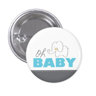 Oh Baby Elephant - Blue & Grey Baby Shower Button
