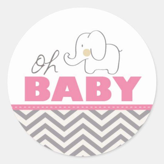 Oh Baby Elephant Pink Baby Shower Invite Sticker Zazzle