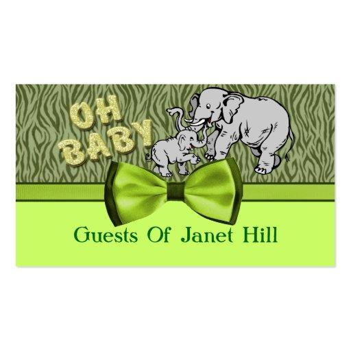 Oh Baby Elephants Zebra Print Baby Shower Business Cards